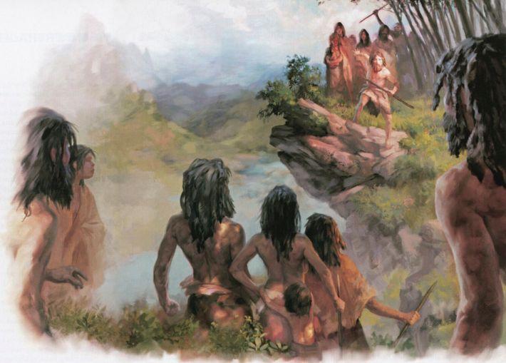 Ilustração do encontro de Denisovanos com humanos modernos.