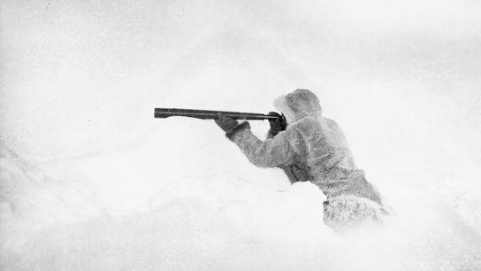 O guia esquimó de Robert E. Peary procura terra no horizonte.