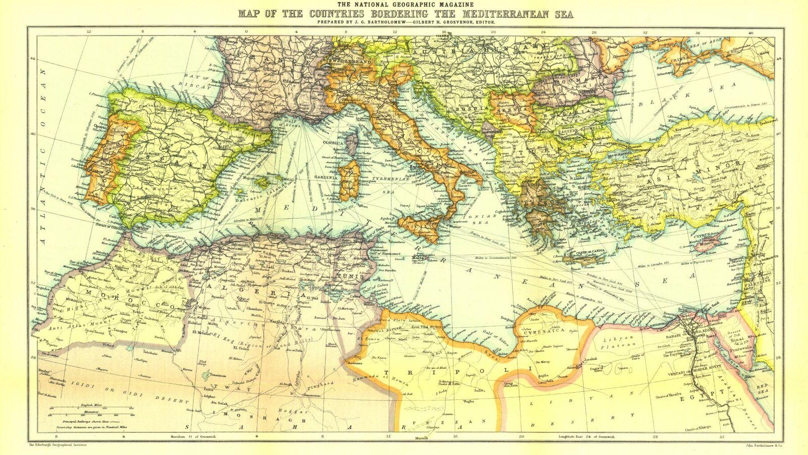 """Mapa dos países que """"cercam"""" o Mar Mediterrâneo."""