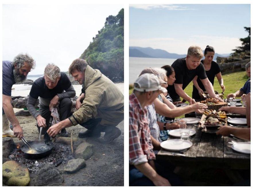 """Esquerda: Pescadores locais, Fluff (Esquerda) e Zane (Direita), ensinam Gordon Ramsay (Centro) a cozinhar """"pāua"""", um ..."""