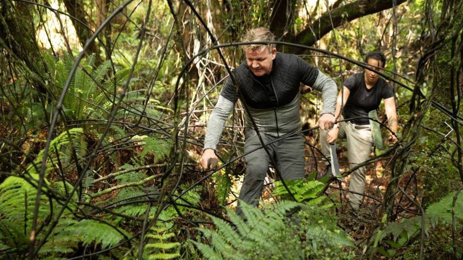 Gordon Ramsay e a chef neozelandesa, Monique Fiso, abrem caminho com facas de mato enquanto procuram ...