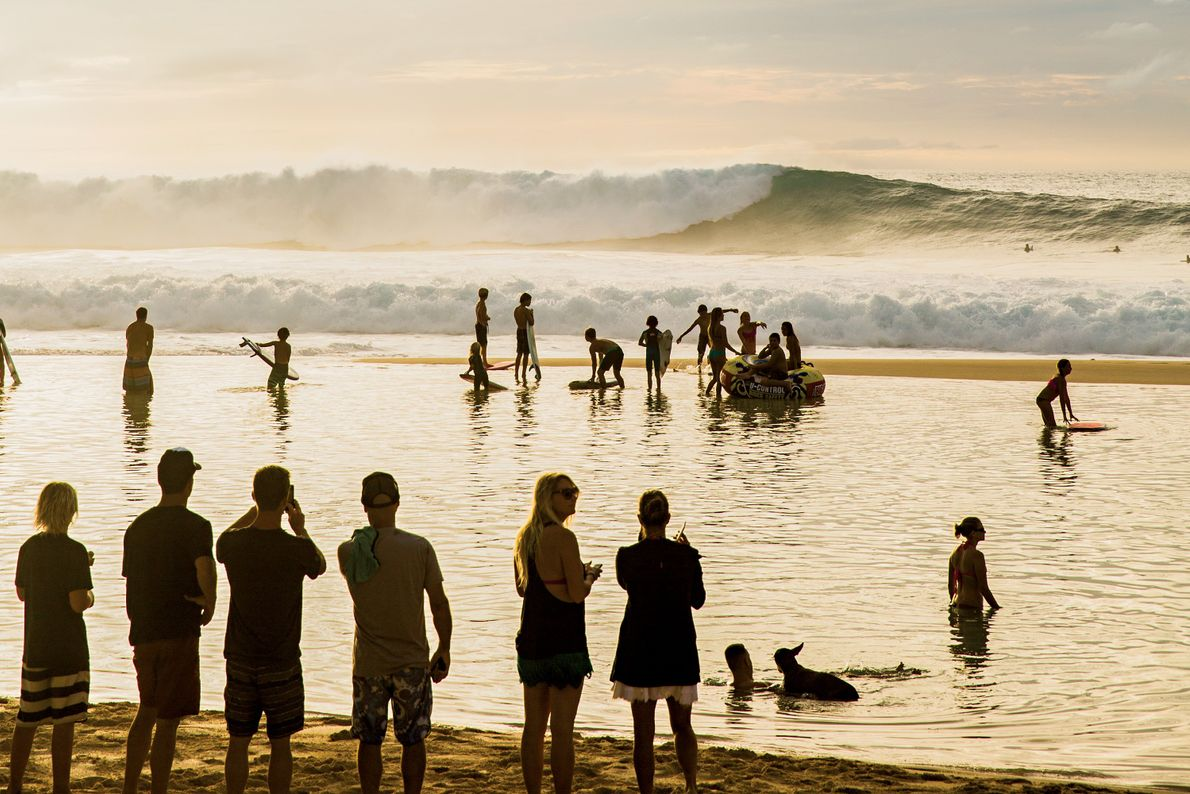 pôr-do-sol na costa norte de Oahu