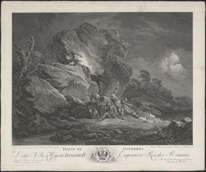 Uma gravura de 1778 mostra quatro mercenários suíços – alguns dos primeiros objetos de estudo de ...