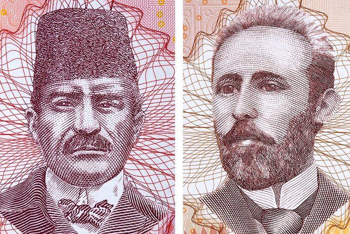 Esquerda: No rescaldo de uma amarga guerra civil, a Bósnia-Herzegovina criou duas versões de cada nota ...