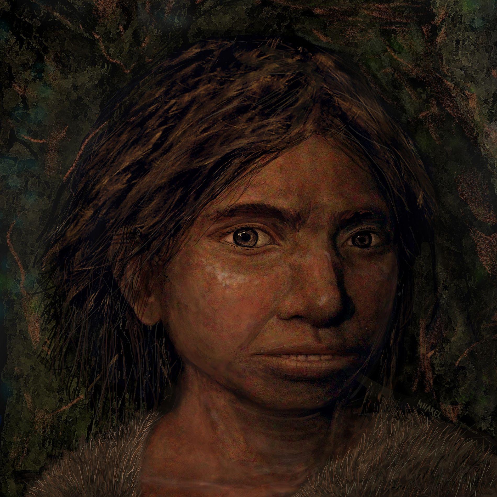 Uma ilustração mostra a aparência de um Denisova. As investigações genéticas que criaram o modelo do ...