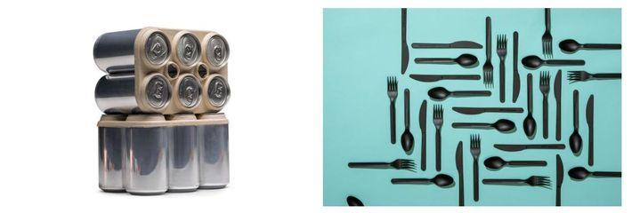 Esquerda: Um suporte compostável para seis latas feito com resíduos de cerveja. Direita: Um conjunto de utensílios ...