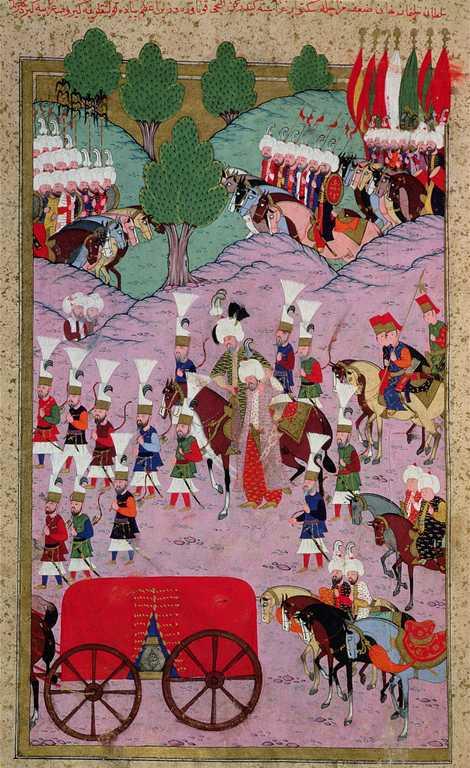 Este quadro do século XVI mostra o exército de Solimão, o Magnífico, a marchar em direção ...