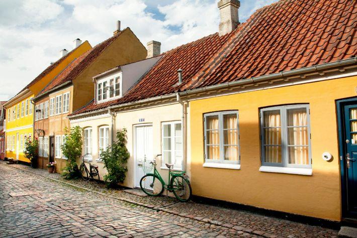 Cidade velha de Odense, Dinamarca. Cidade natal de HC Andersen.