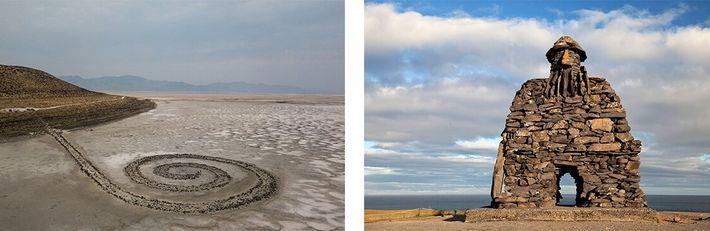 Esquerda: A Spiral Jetty, do artista Robert Smithson, projeta-se no Great Salt Lake em Utah. Direita: Uma ...