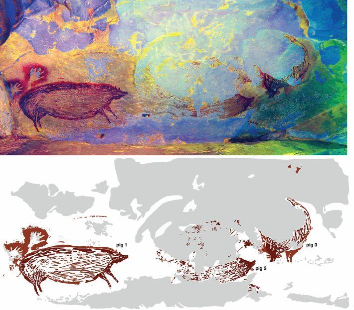 Esta arte rupestre pode representar uma cena com vários porcos, mas a erosão desgastou grande parte ...