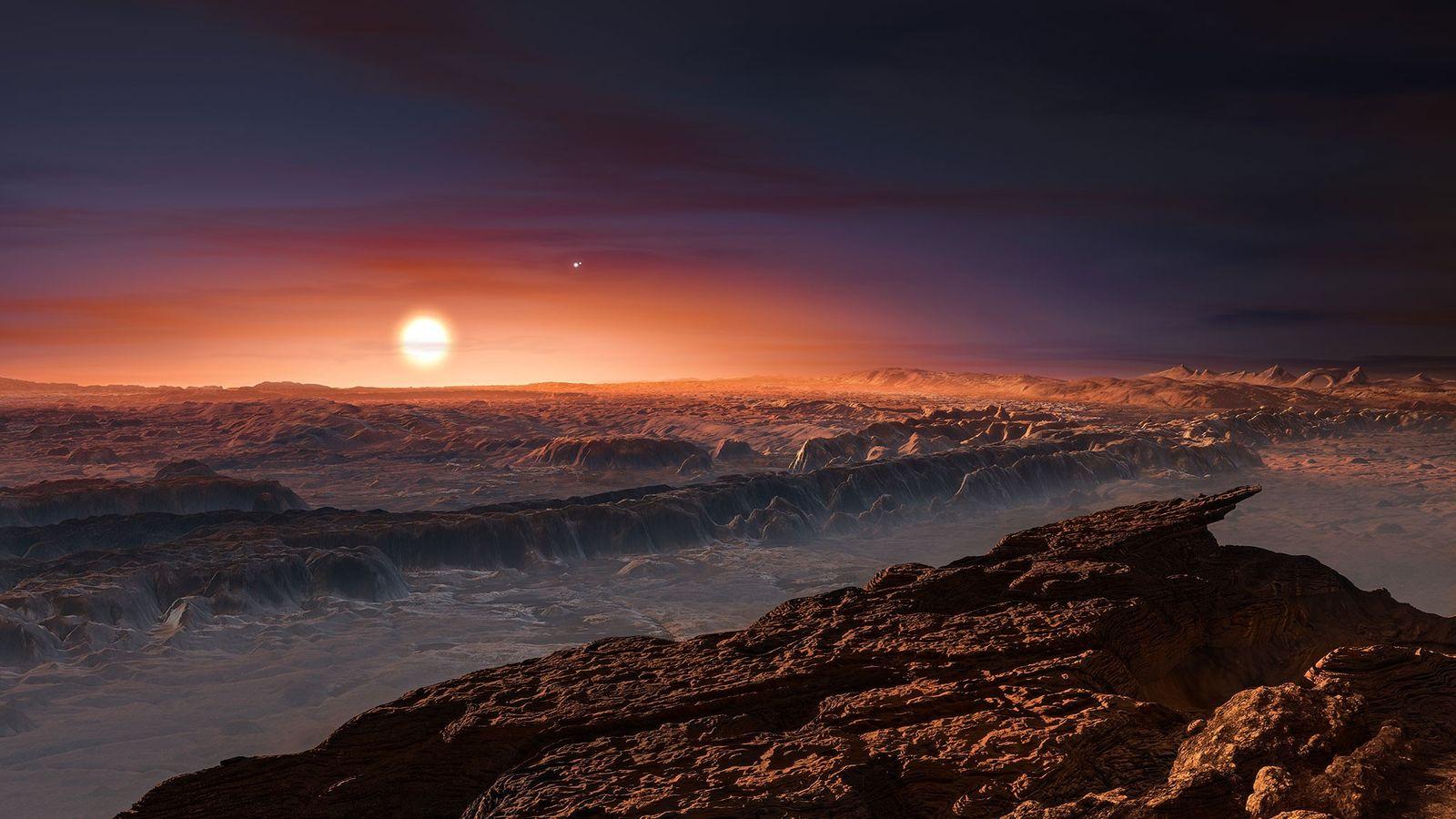 Ilustração da Superfície do exoplaneta Proxima b