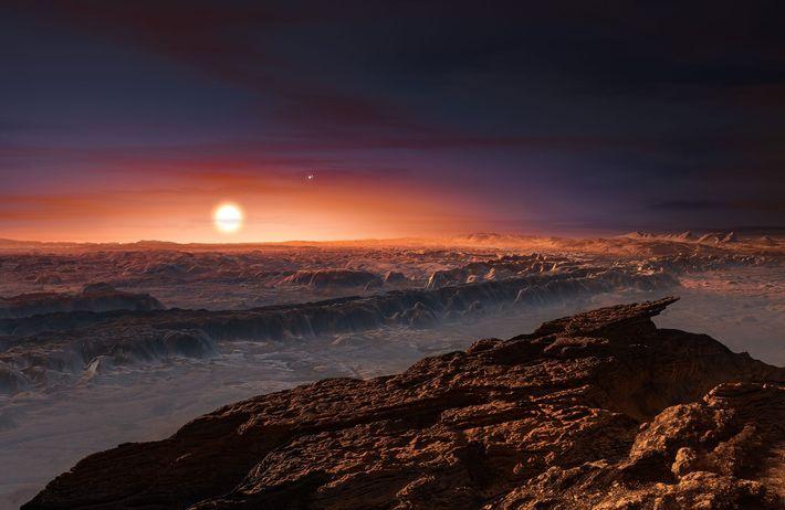 Esta ilustração mostra a luz vermelha da estrela Proxima Centauri a iluminar a superfície do planeta ...