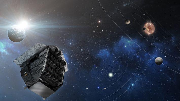 Concepção artística do satélite PLATO da Agência Espacial Europeia (ESA), com lançamento agendado para 2026. O ...