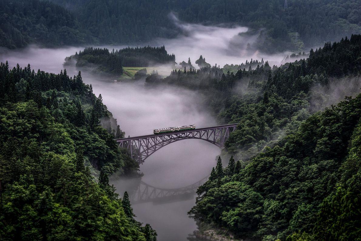 Fotografia de um comboio a passar uma ponte numa floresta no Japão