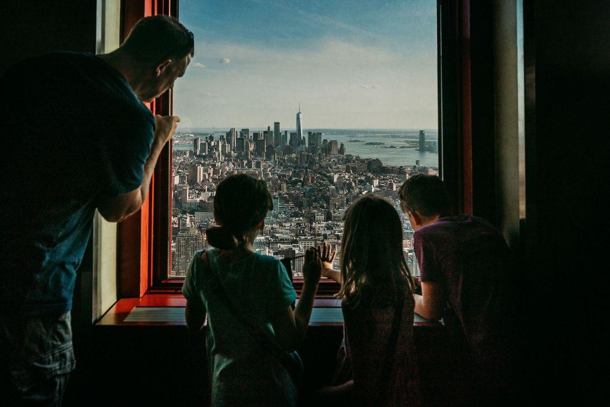 Fotografia do horizonte de parte de Manhattan, do Empire State Building