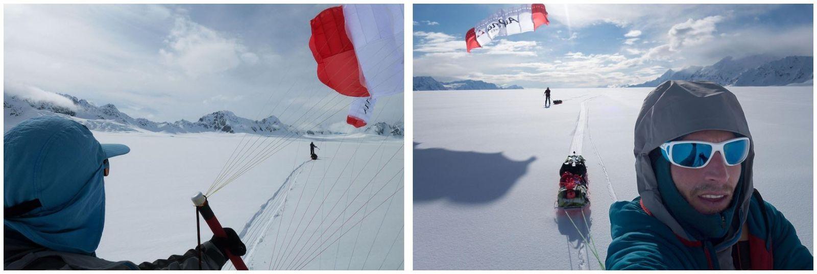Esquerda: Børge e Colliard levaram velas de esqui para os ajudar a atravessar o campo de ...