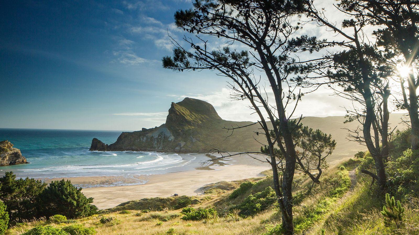 Castlepoint na Ilha do Norte, na Nova Zelândia.