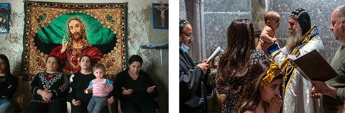 Cristãos iraquianos oram dentro de mosteiro