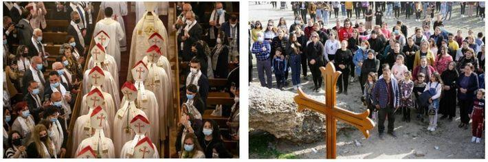 Esquerda: O Papa Francisco preside a missa na Catedral Caldeia de São José em Bagdad, no ...