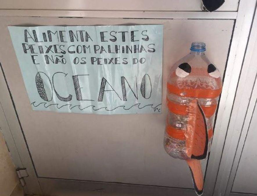 Os alunos da escola EB 2,3 Professor Agostinho da Silva criaram ecopontos para palhinhas  e paus de chuva, dois dos itens mais encontrados nos espaços exteriores da sua escola.
