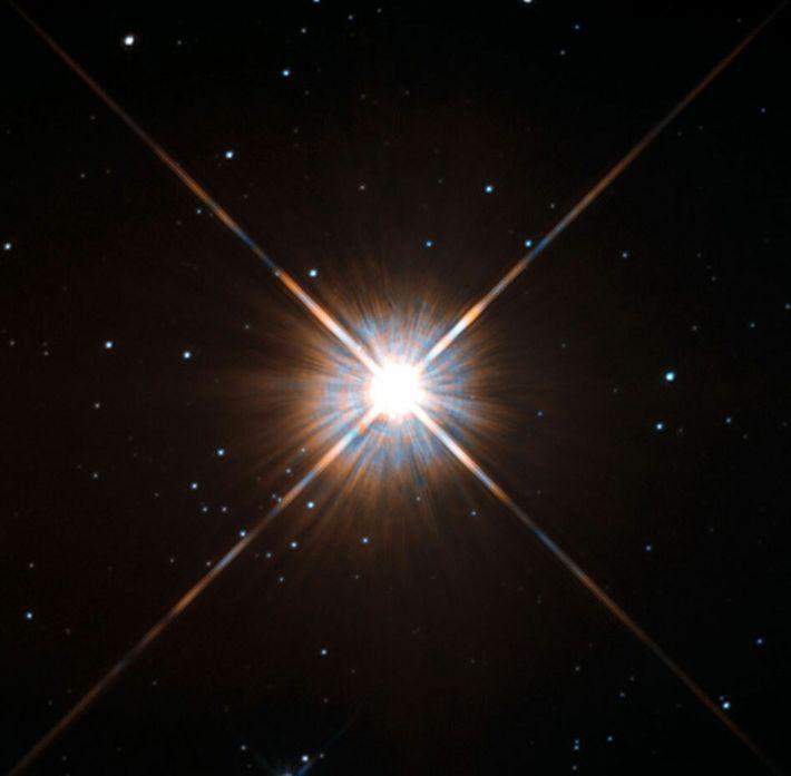 Proxima Centauri, a nossa vizinha estelar mais próxima, vista pelo Telescópio Espacial Hubble.