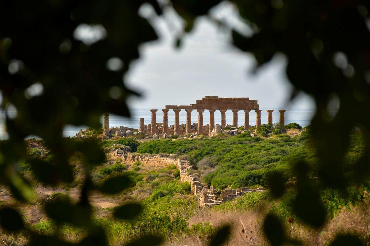 A folhagem grossa serve de moldura para as ruínas do templo em Selinunte, na costa sul ...