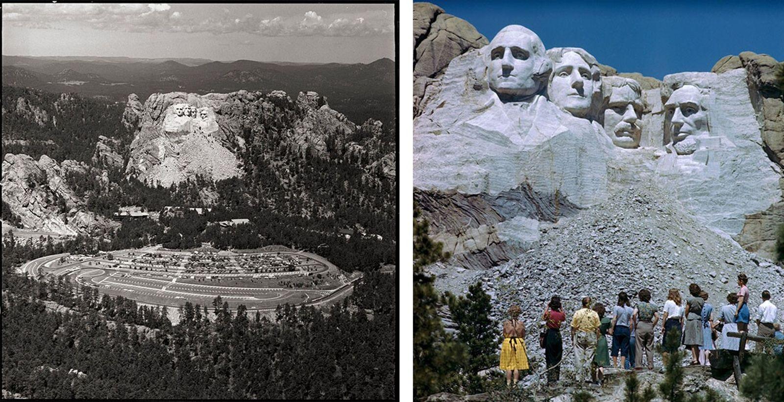 Esquerda: Uma vista aérea do Monte Rushmore captada em 1967 mostra as quatro faces presidenciais, as montanhas ...