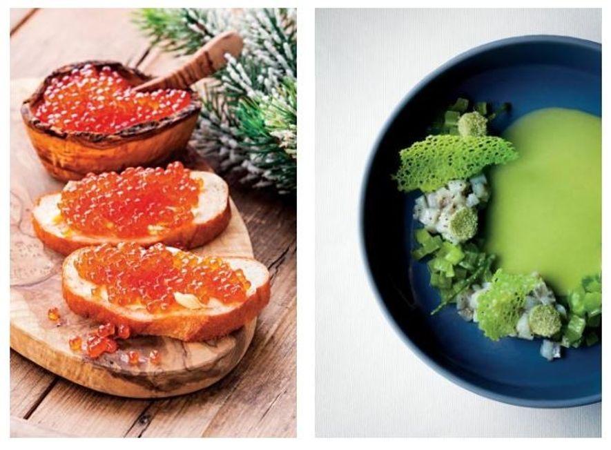 Esquerda: Ao contrário do caviar negro, que é mais caro, o caviar vermelho é um alimento ...