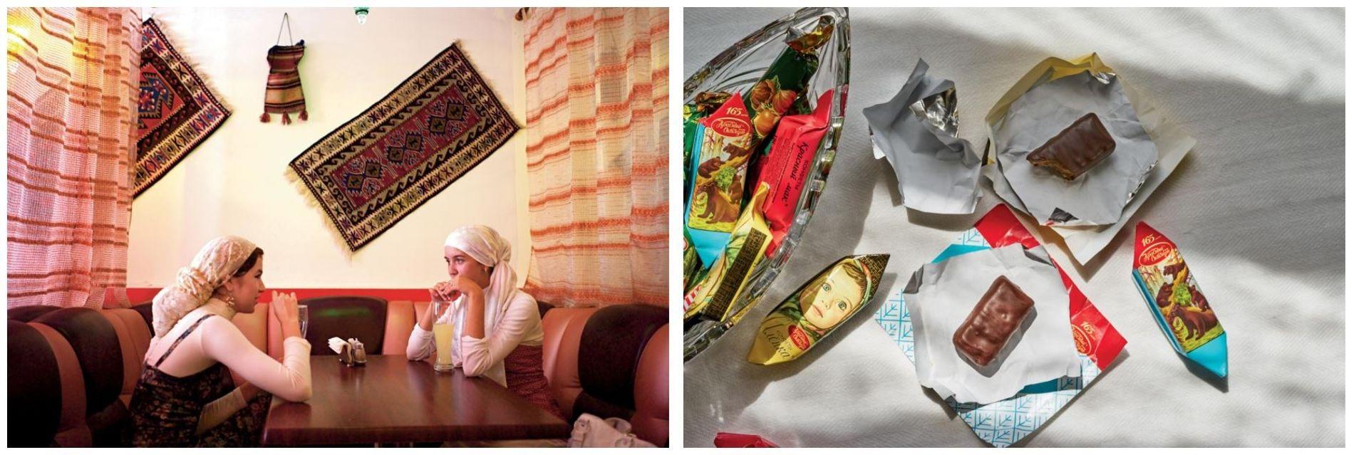 Esquerda: Duas mulheres em Kazan, no Tartaristão, bebem uma bebida fermentada tradicional, feita com pão de ...