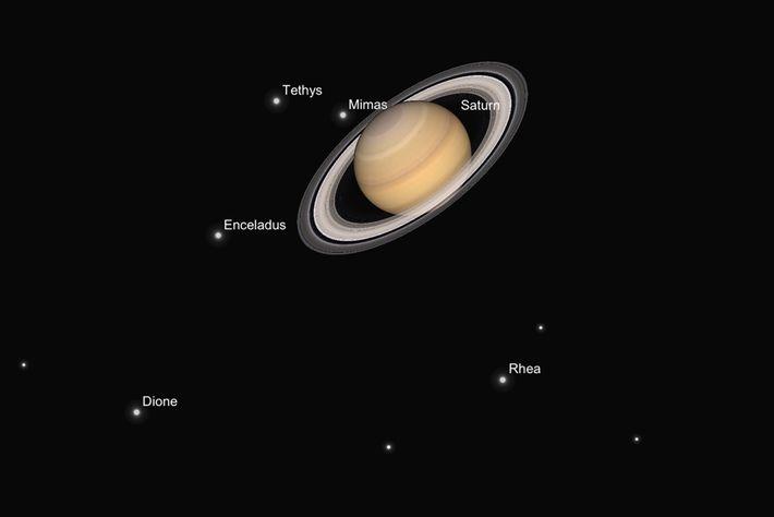 Uma ilustração mostra uma possível imagem de Saturno e das suas luas.