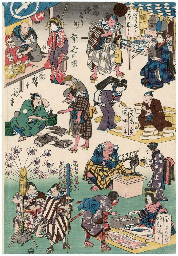 """A xilogravura de Utagawa Hiroshige de 1852 ao estilo ukiyo-e, da série """"Negócio Próspero em Balladtown"""", ..."""