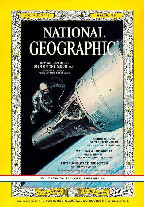 """REVISTA NATIONAL GEOGRAPHIC, MARÇO DE 1964  Uma ilustração de capa mostra """"um astronauta ousado da Gemini ..."""