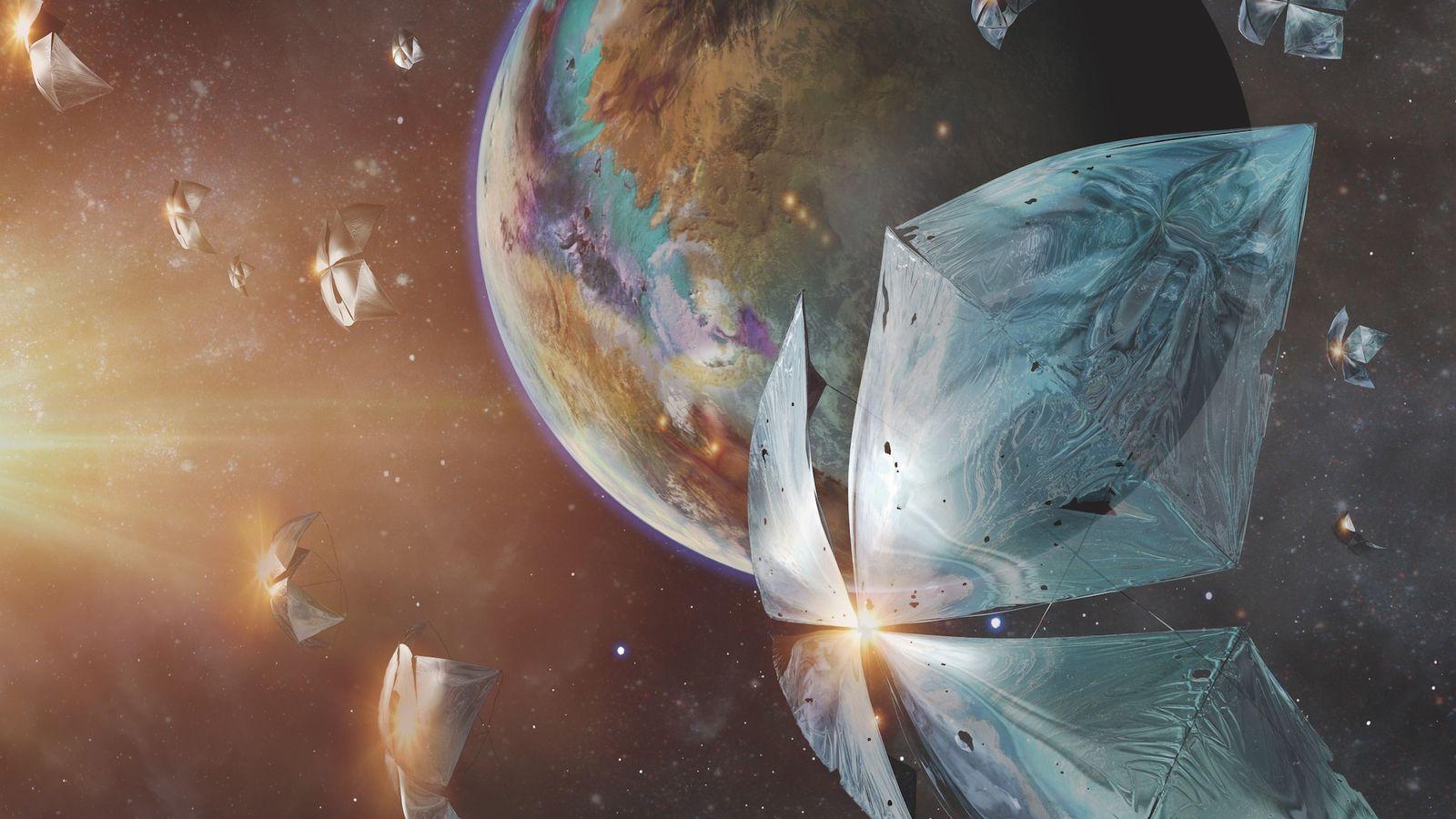 Esta ilustração da iniciativa Breakthrough Starshot mostra uma nave espacial a acelerar em direção ao planeta ...