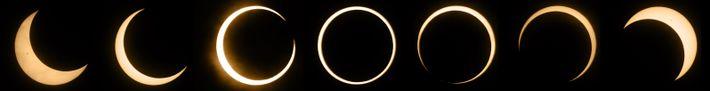 Sequência de fotografias do eclipse anular do Sol de 20 de maio de 2012