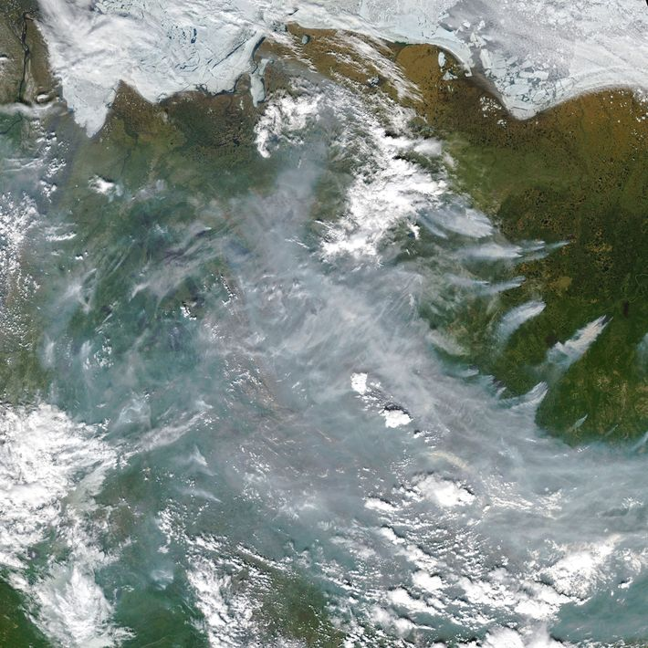 Uma imagem vista do espaço dos incêndios na tundra siberiana.