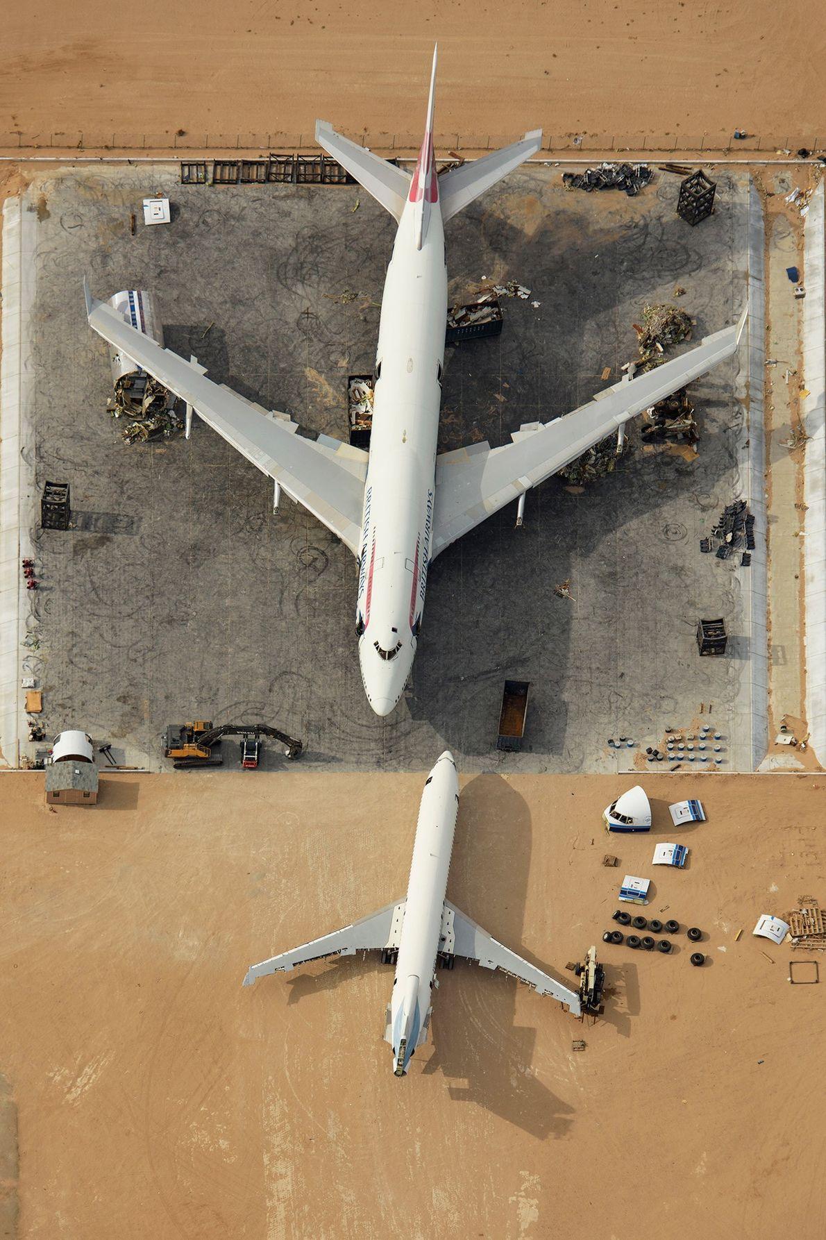 Um Boeing 747 retirado do serviço no cemitério de Logística do Sul da Califórnia. O avião ...