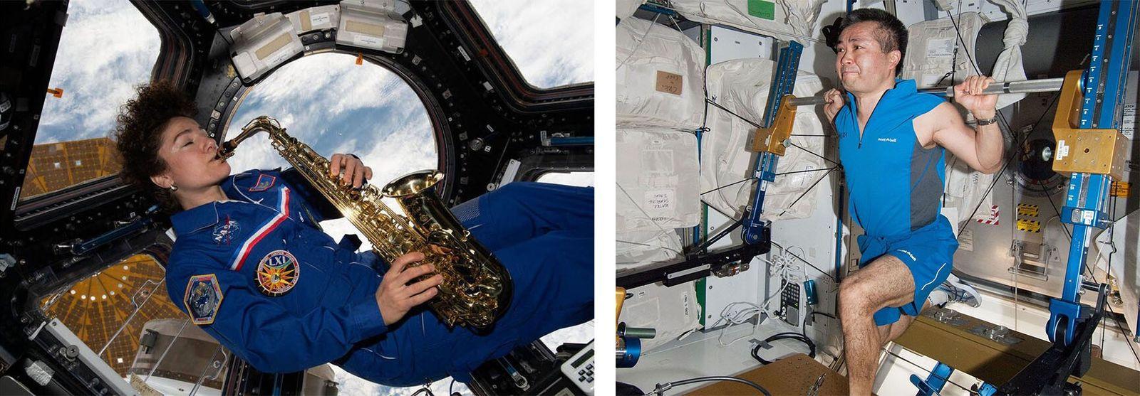 Esquerda: Antes de regressar à Terra em abril de 2020, Jessica Meir, astronauta da NASA e ...
