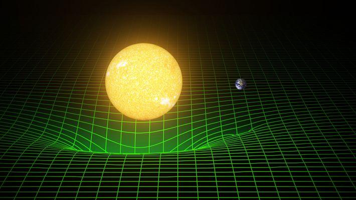 Representação bidimensional do poço gravitacional criado pelo Sol e a Terra. Os corpos com massa curvam ...