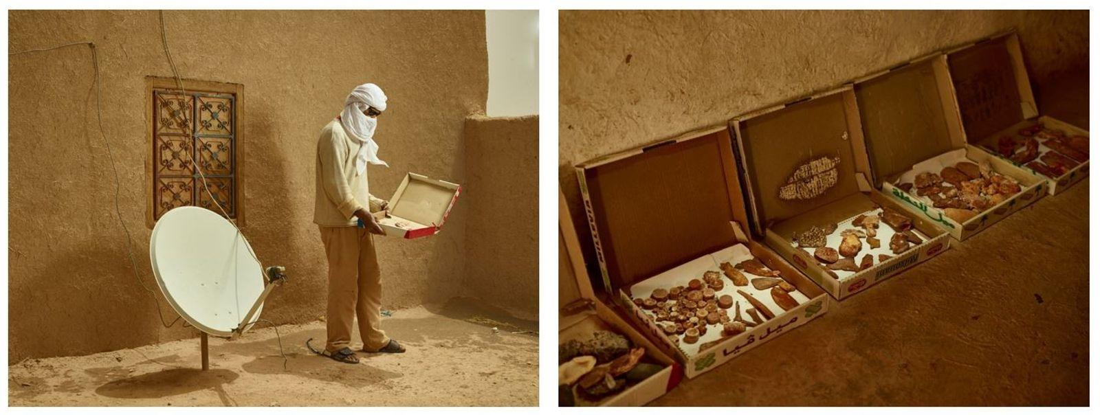 Esquerda: Ao lado da antena parabólica de sua casa, um colecionador de fósseis exibe algumas das ...