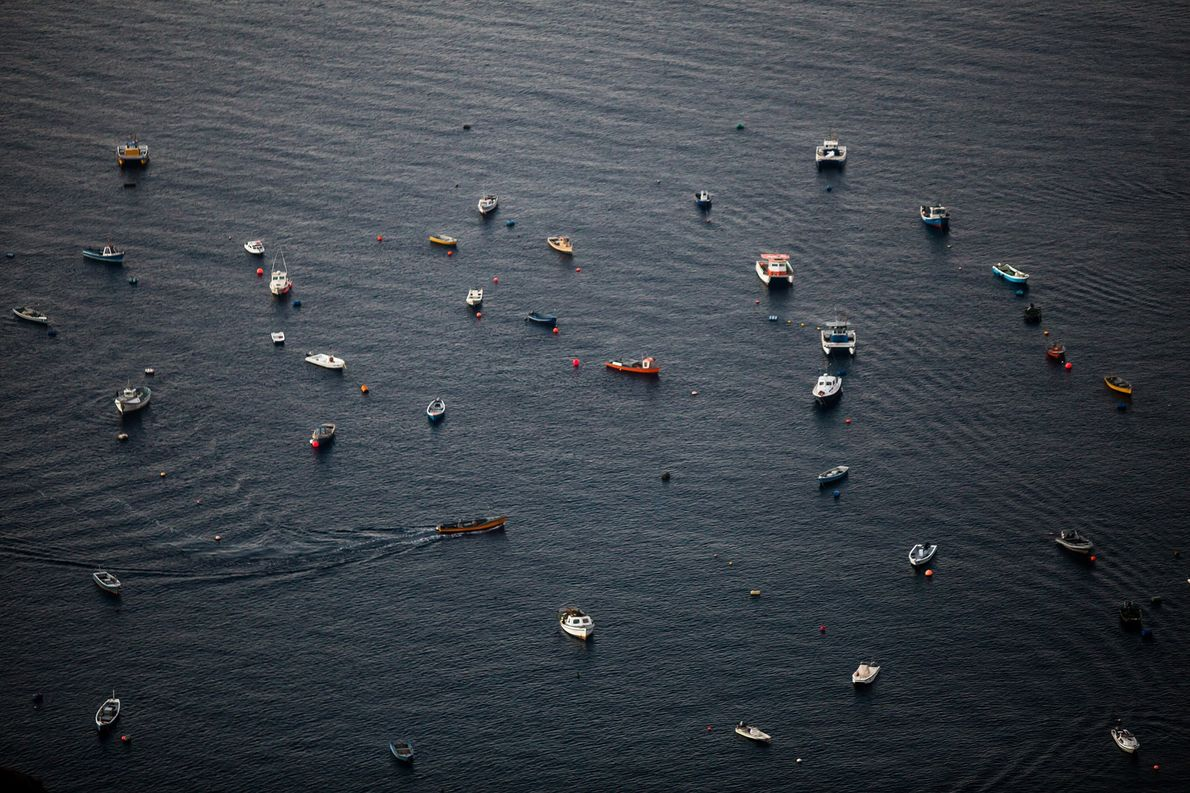 Barcos usados para a pesca e para o turismo ancorados no porto de Jamestown.