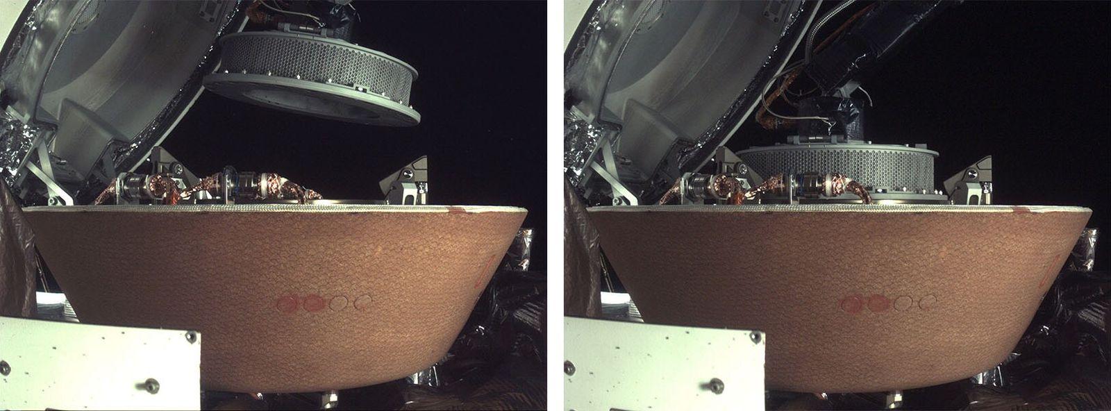 Esquerda: Esta imagem da OSIRIS-REx mostra o braço TAGSAM a colocar o dispositivo com amostras recolhidas ...
