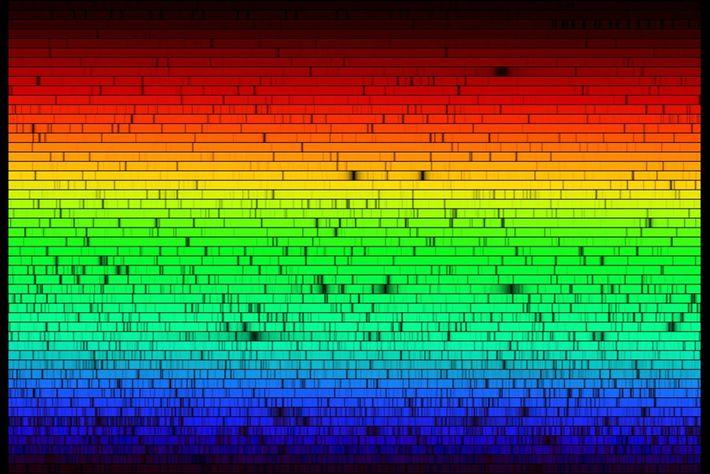 Todas as cores do Sol – o espectro, ou decomposição da sua luz nas várias cores, ...