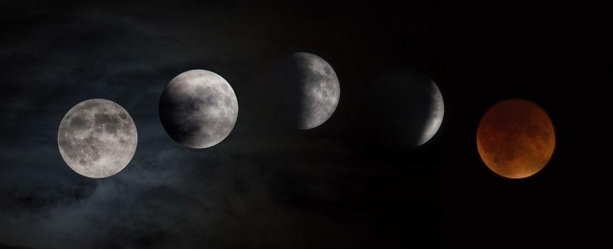 Eclipse lunar capturado ao passar pelo Glenn Research da NASA, em Setembro de 2015.
