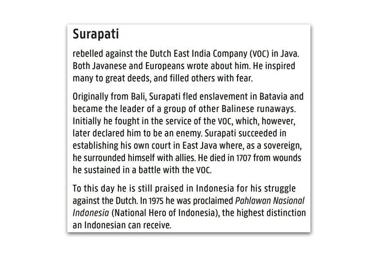Uma etiqueta interpretativa próxima do quadro explica o significado de Surapati, uma figura frequentemente esquecida no ...