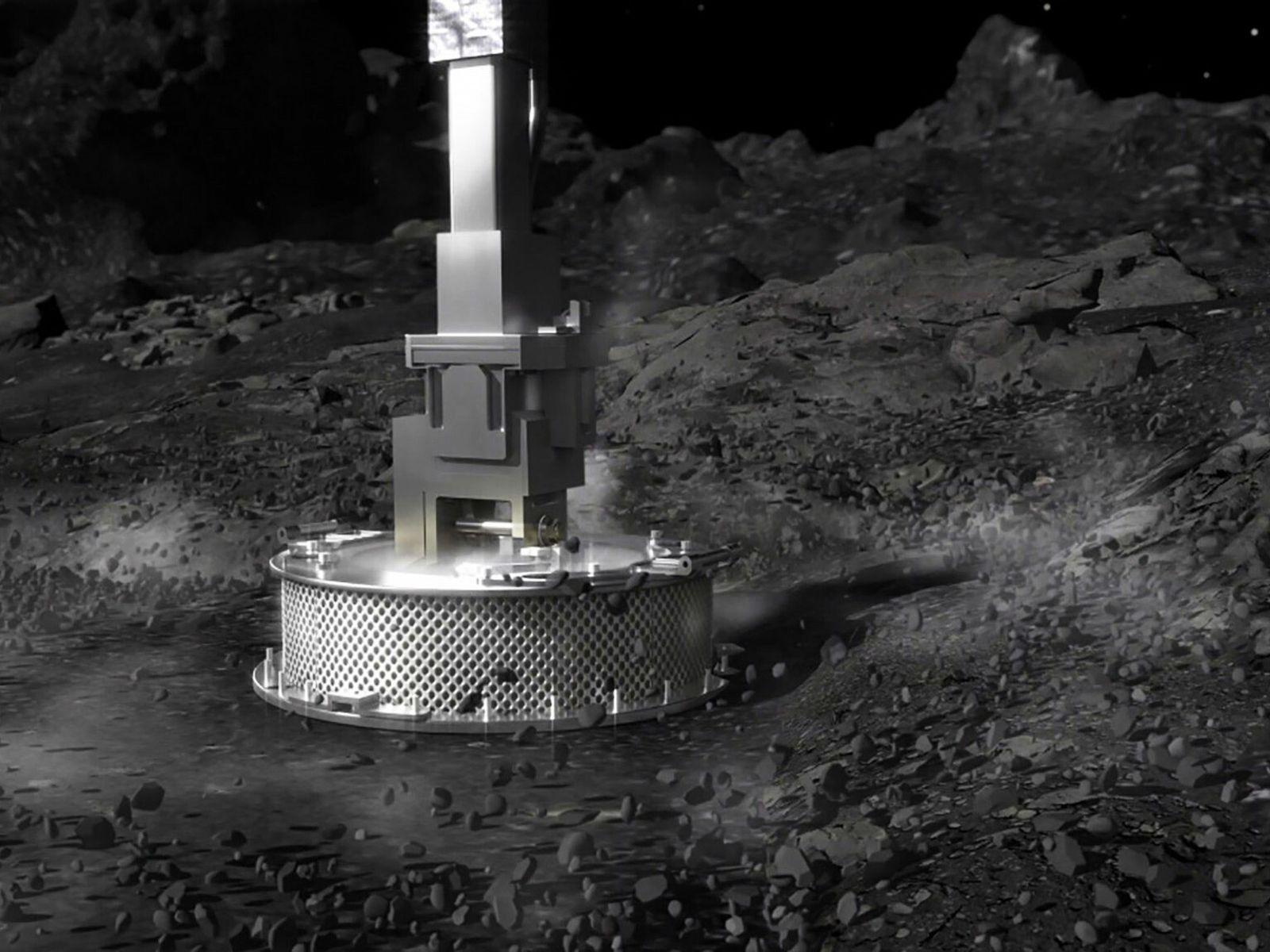 Funcionando como um aspirador invertido, o coletor de amostras da sonda OSIRIS-REx parecia estar a recolher ...