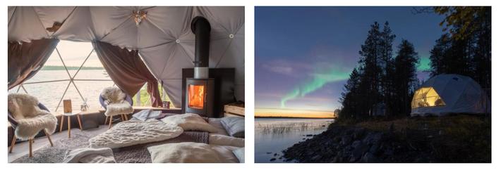 Na Harriniva Aurora Dome, na Lapónia finlandesa, a pouco mais de 500 metros da Suécia, os ...