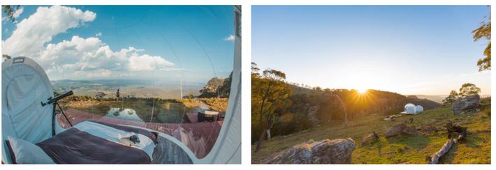 O Bubble Tent Austrália fica numa exploração agrícola, perto da região vinícola de Mudgee, em Nova ...
