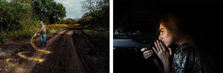 Esquerda: Kade McGuffin, guia do 777 Ranch, espalha milho para atrair veados chital para os caçadores. Direita: ...