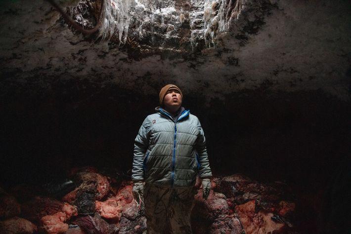 Em Utqiaġvik, no Alasca, Josiah Olemaun, um jovem baleeiro Inupiat, respira fundo enquanto empilha carne de ...