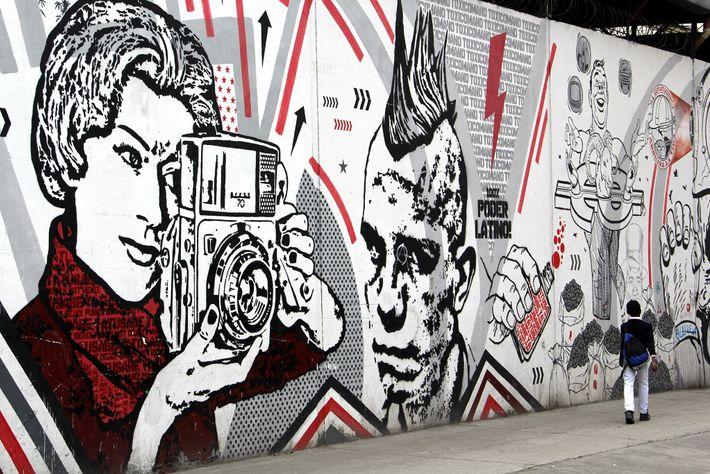 O mural de Toxicomano em Bogotá, Colômbia.